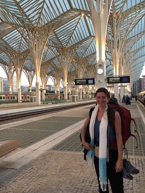 Arriving bleary-eyed at Lisbon Oriente station.