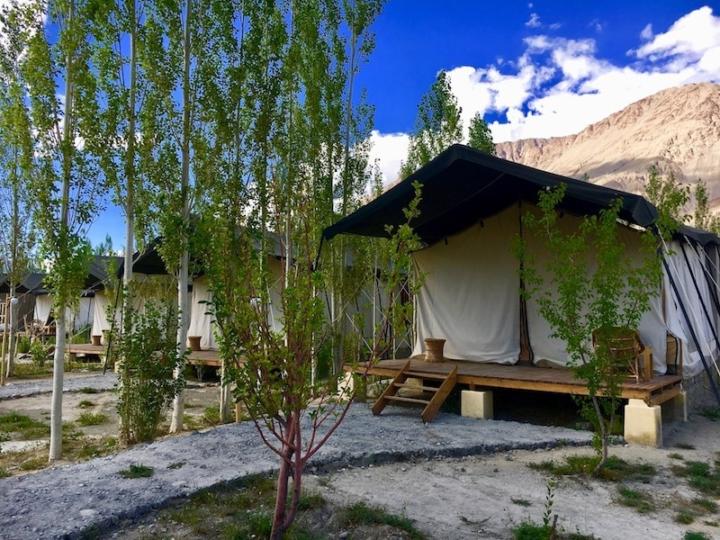 Tents at Nubra Ecolodge and responsible travel in Ladakh