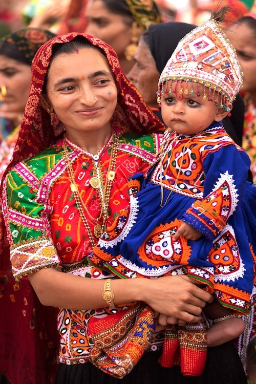rabari tribe and tribal costumes in the desert of Kutch Gujarat