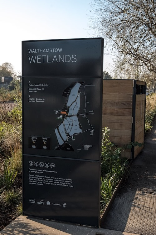 Entrance to the Walthamstow Wetlands, London