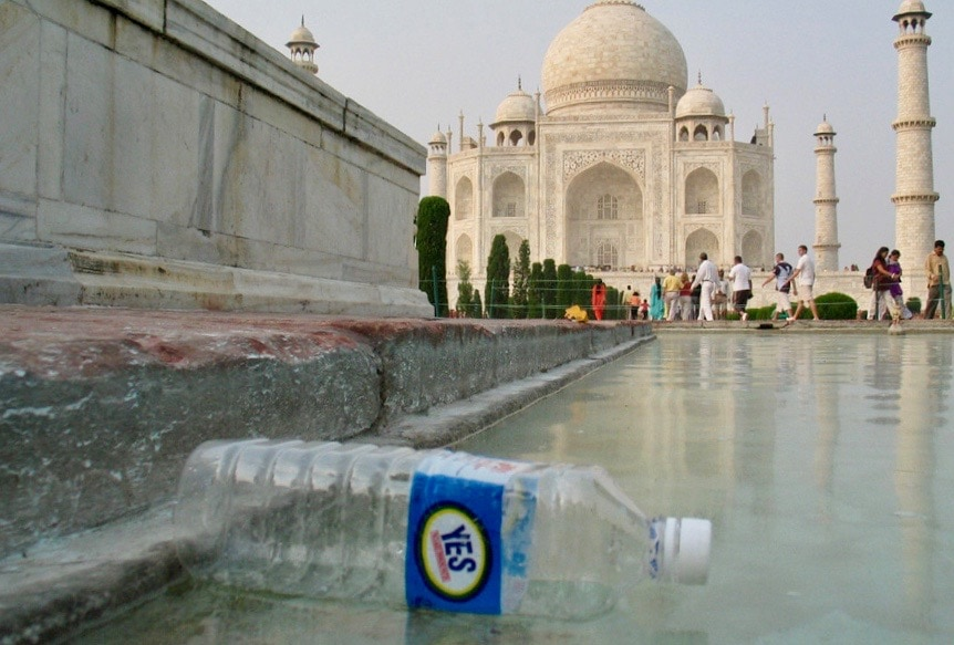 Plastic water bottle at the Taj Mahal