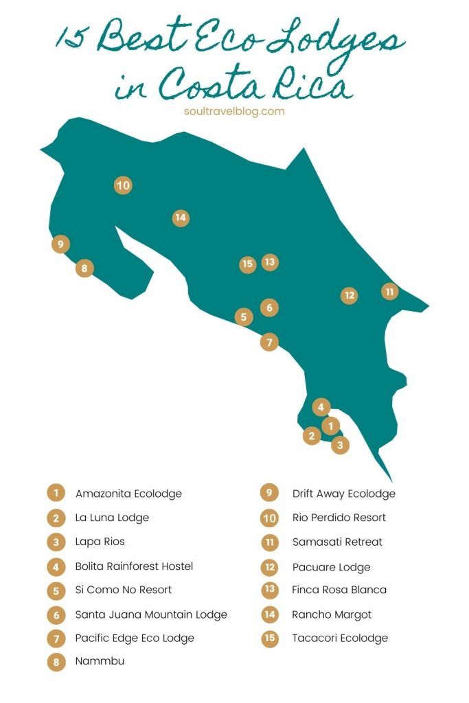 Costa Rica ecolodges map